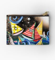 Don't you let it drag you down - Night Sailing - Watercolour Art Moonlight Night  Studio Pouch