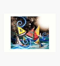 Don't you let it drag you down - Night Sailing - Watercolour Art Moonlight Night  Art Print