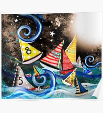 Don't you let it drag you down - Night Sailing - Watercolour Art Moonlight Night  Poster