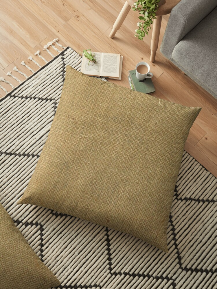 'Burlap Coffee Sack Grunge Knit Look' Floor Pillow by yonni