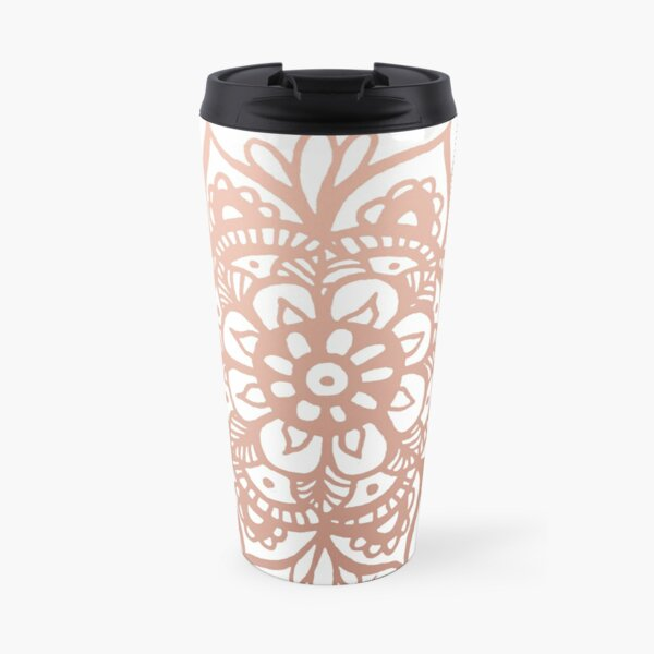 Rose Gold Mandala Flower Travel Mug