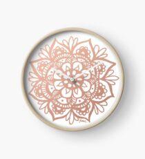 Rose Gold Mandala Clock
