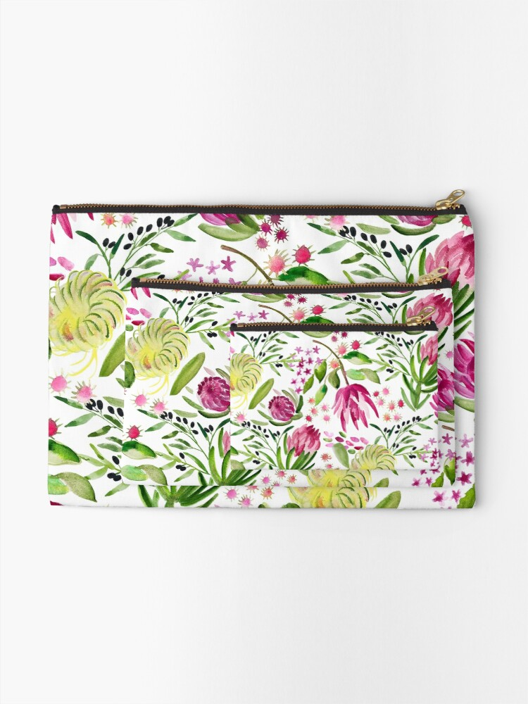 Alternate view of Protea Bloom Floral Zipper Pouch