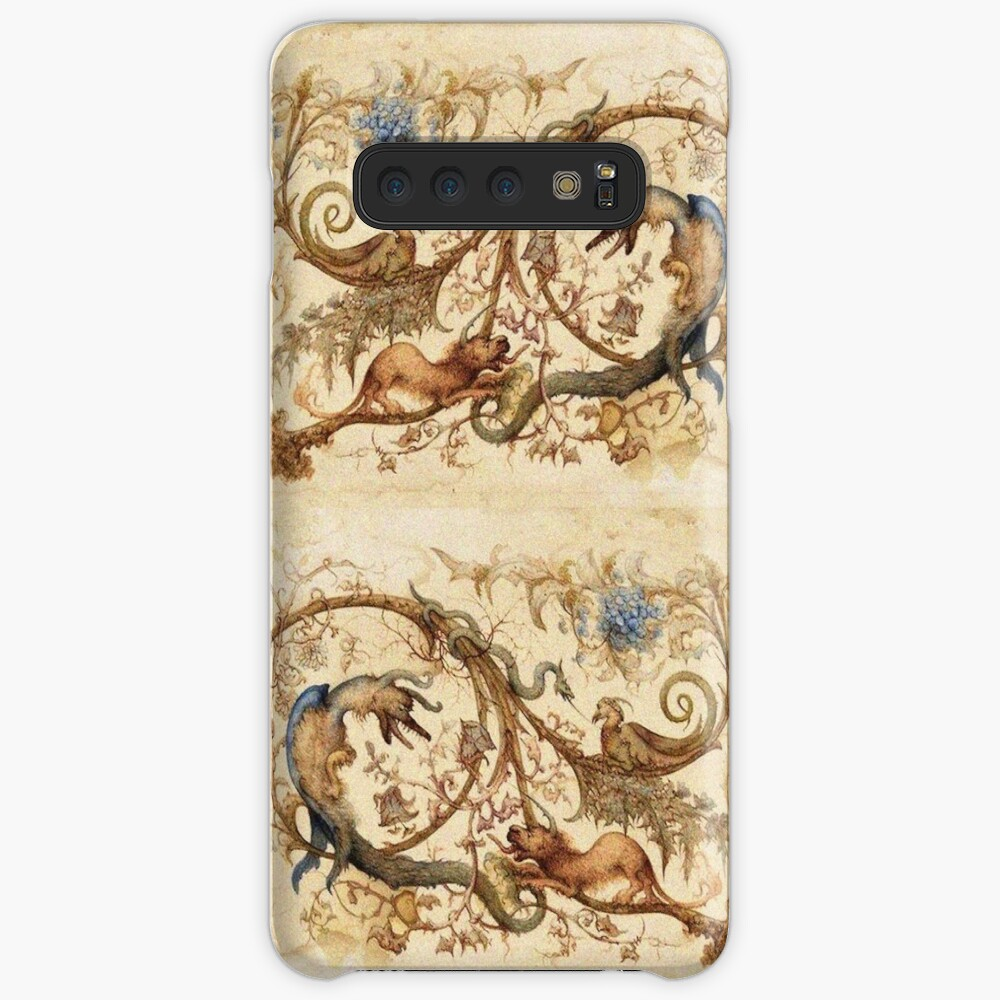 FANTASTIC ANIMALS Medieval Bestiary and Floral Swirls Antique Brown Parchment Case & Skin for Samsung Galaxy