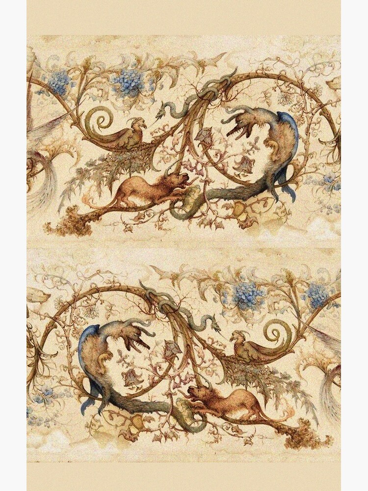 FANTASTIC ANIMALS Medieval Bestiary and Floral Swirls Antique Brown Parchment by BulganLumini