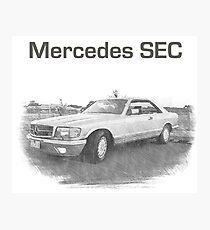 Mercedes SEC Car Vintage Luxury Sketch Photographic Print