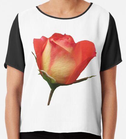 eine zauberhafte Rose mit den Tropfen des Morgentaus Chiffontop für Frauen