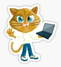 Smart Cat with Computer Sticker