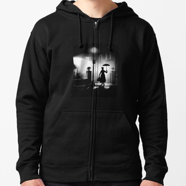 The Power of Poppins Compels You Black & White Zipped Hoodie