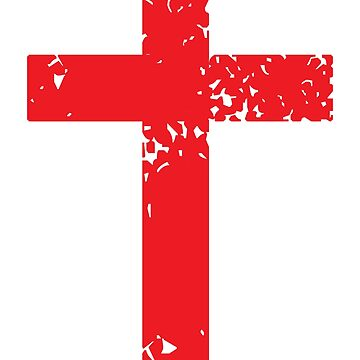 Vintage Rustic Distressed Red Cross - Christian by BullQuacky