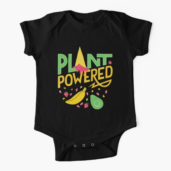 Plant powered – Vegan lettering Short Sleeve Baby One-Piece