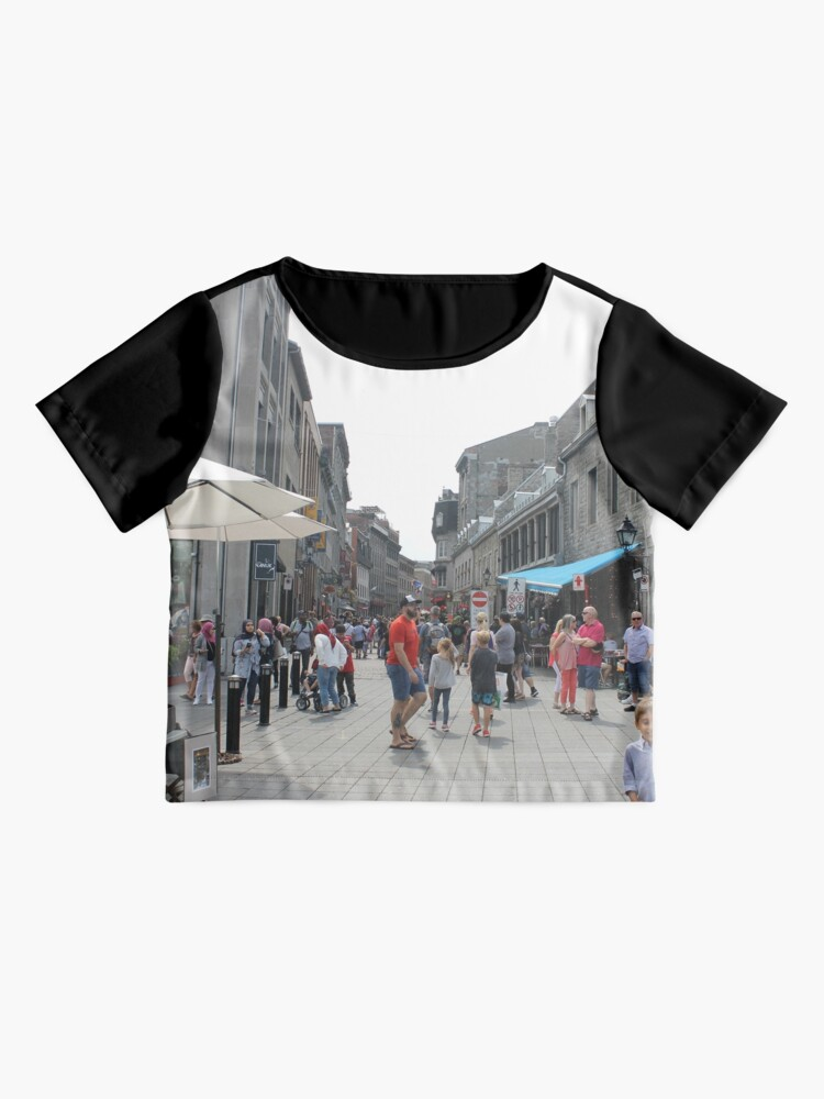 Alternate view of Montreal, People, street, city, crowd, walking, urban, old, architecture, road, building, travel, shopping, traffic, blur, walk, business, tourism, woman, london Chiffon Top