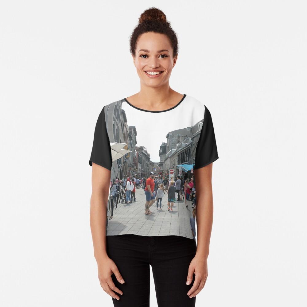 Montreal, People, street, city, crowd, walking, urban, old, architecture, road, building, travel, shopping, traffic, blur, walk, business, tourism, woman, london Chiffon Top
