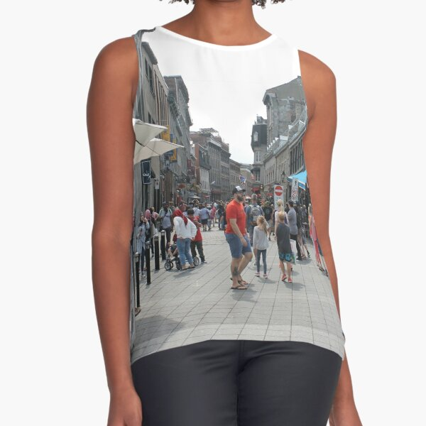 Montreal, People, street, city, crowd, walking, urban, old, architecture, road, building, travel, shopping, traffic, blur, walk, business, tourism, woman, london Sleeveless Top