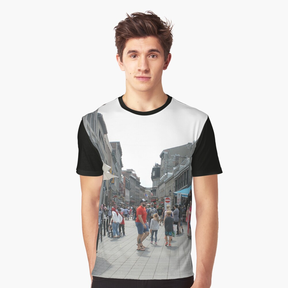 #Montreal #People #street #city #crowd #walking #urban #old #architecture #road #building #travel #shopping #traffic #blur #walk #business #tourism #woman #london Graphic T-Shirt Front