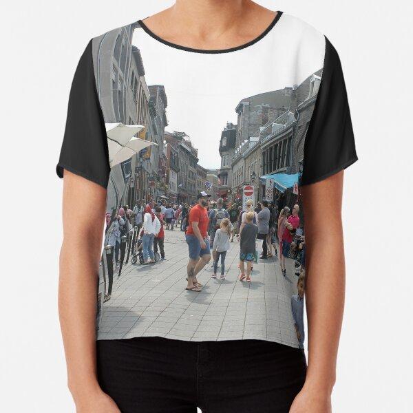 #Montreal #People #street #city #crowd #walking #urban #old #architecture #road #building #travel #shopping #traffic #blur #walk #business #tourism #woman #london Chiffon Top