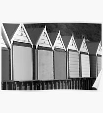 Beach Huts (Black and White) Poster