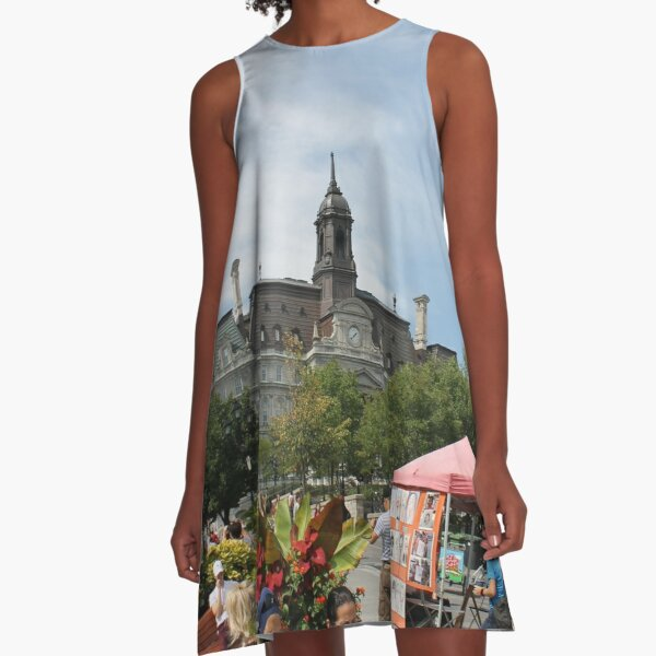 architecture, church, building, city, europe, old, tower, town, castle, panorama, house, cathedral, travel, sky, landmark, medieval, view, historic, cityscape, panoramic, river, tourism, spain, palace A-Line Dress