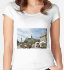 #castle, #architecture #church #building #city #europe #old #tower #town #panorama #house #cathedral #travel #sky #landmark #medieval #view #historic #cityscape #panoramic #river #tourism  Women's Fitted Scoop T-Shirt