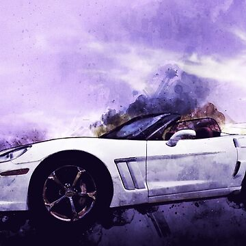 Corvette Convertible Pen and Watercolor by ChasSinklier