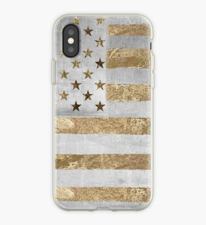 Fashion American Flag Silver Gold iPhone Case