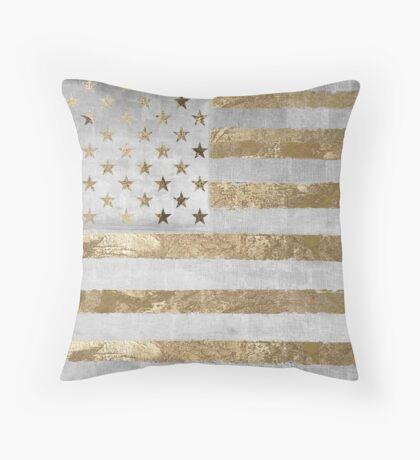 Fashion American Flag Silver Gold Throw Pillow