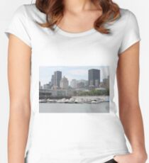 Old Port of Montreal #OldPort #Montreal #Old #Port #city #skyline #water #buildings #architecture #urban #building #harbor #cityscape #sky #downtown #skyscraper #business #river #view #panorama #boat Women's Fitted Scoop T-Shirt