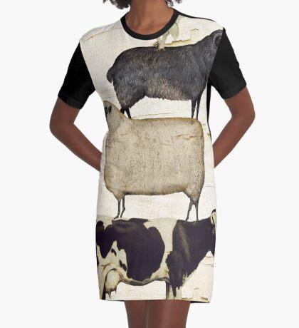 Farm Animal Tree Graphic T-Shirt Dress