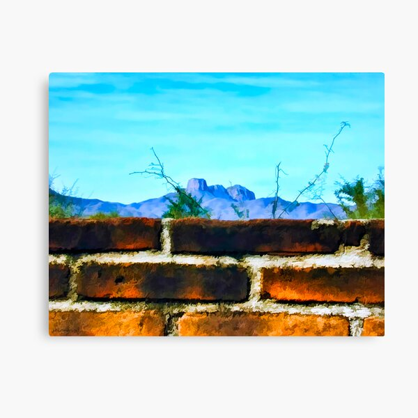 Brick Wall and Mountain Range Landscape Canvas Print