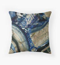 Earthly Pleasures Stone Geode Indigo Gold Throw Pillow