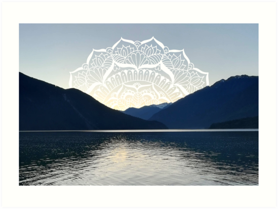 Pacific Northwest Lake Mandala Sunset by julieerindesign