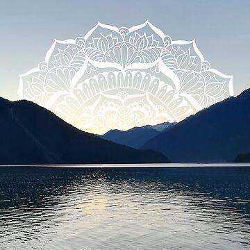 Pacific Northwest Lake Mandala Sunset by julieerindesign