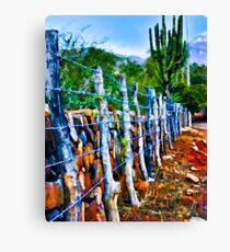 Barbed-Wire Fence Landscape Canvas Print