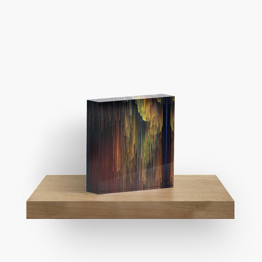 Rainbow Rain Glitches - Pixel Art Acrylic Block