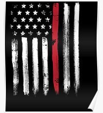 American Flag Thin Red Line Firefighter Poster