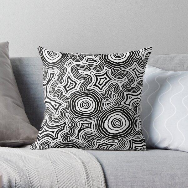 Pathways Black & White - Authentic Aboriginal Art Throw Pillow