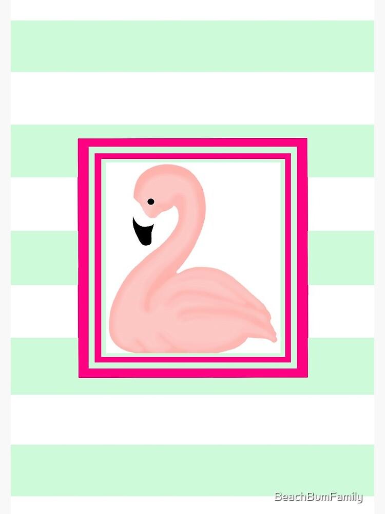 Pink Flamingo Tropical Mint Green Stripes by BeachBumFamily