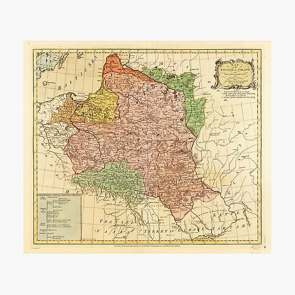 Kingdom of Poland and the Grand Dutchy of Lithuania Map (circa 1770) Photographic Print