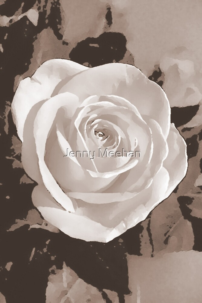 Rose Abstract Design Pale Brown by Jenny Meehan  by Jenny Meehan