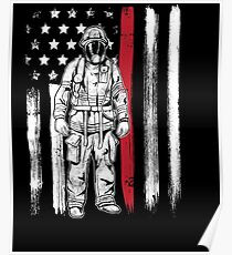American Flag Thin Red Line Fireman Hero Poster