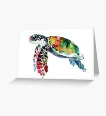 Meeresschildkröte, Olivgrün, Salbeigrün, Türkis, lila Schildkrötegrafik Grußkarte