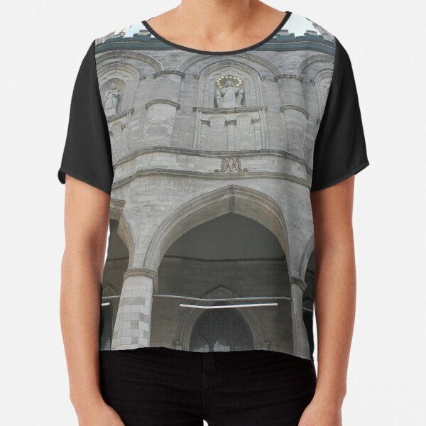Notre-Dame Basilica, architecture, church, cathedral, building, religion, basilica, landmark, detail, old, city, gothic, stone, ancient, travel, arch, facade, medieval, monument, historic, sculpture Chiffon Top