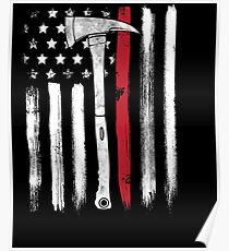 American Flag Thin Red Line Firefighter Axe Poster