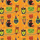Vintage Halloween Orange  by Sharon Bloom