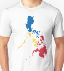 Philippines Filipino Map Sun and Stars Flag Slim Fit T-Shirt