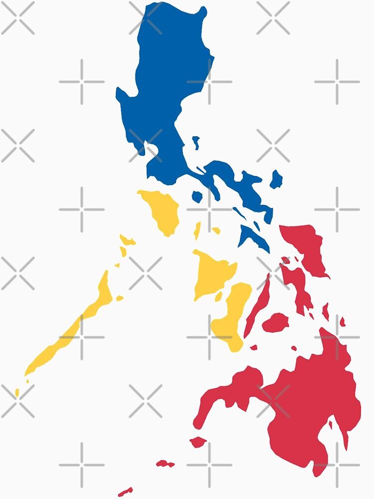 Philippinen Philippinische Karte Sonne und Sterne Flagge von airealapparel