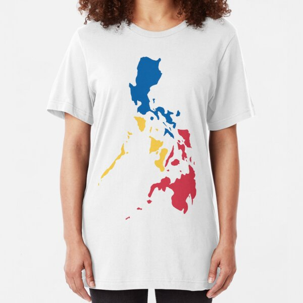 Philippines Filipino Map Sun and Stars Flag Slim Fit T-Shirt