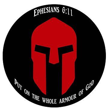 Red Spartan Helmet on Black With Ephesians 6:11 by JDOK