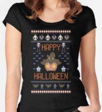 Halloween Ugly Sweater Women's Fitted Scoop T-Shirt