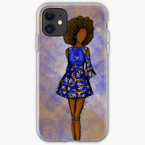 Blue and mustard Ankara- African queen  iPhone Soft Case